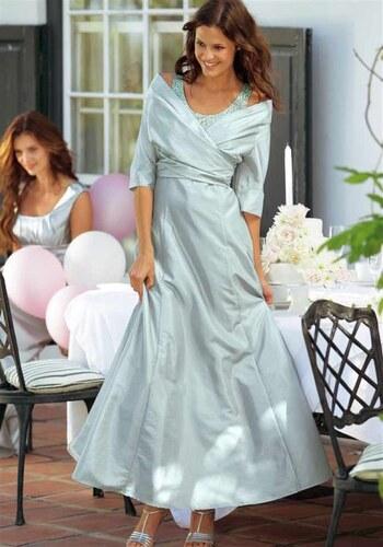 eb6aefab90c3 Laura Scott Nádherné společenské šaty Laura Scott Evening ve stříbrně šedé  barvě s bolerkem