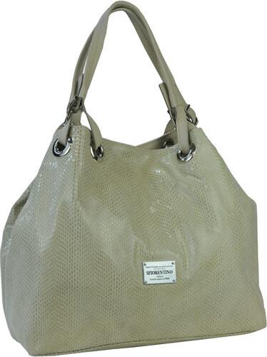cc0ac4af82 S.Fiorentino Elegantná béžová kožená kabelka Snake Beige 7015 - Glami.sk