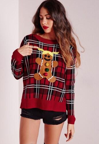 32b6b63e57c MISSGUIDED Červený vánoční svetr s perníkovým panáčkem - Glami.cz