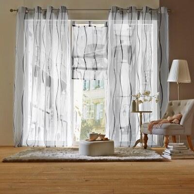 blancheporte panneau largeur 140 x hauteur 180cm voilage arlequin blanc gris. Black Bedroom Furniture Sets. Home Design Ideas