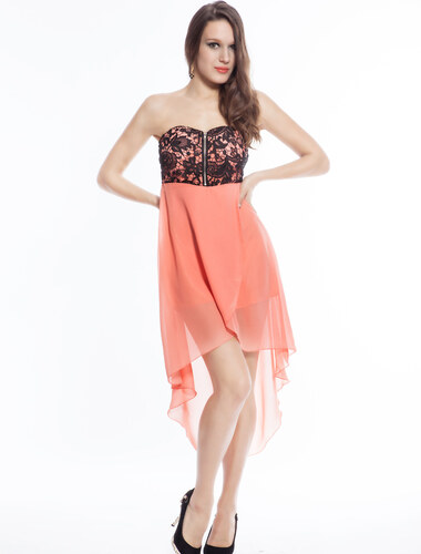 LM moda A Plesové šaty meruňkové s výšivkou - Glami.cz 2529ce00c6e