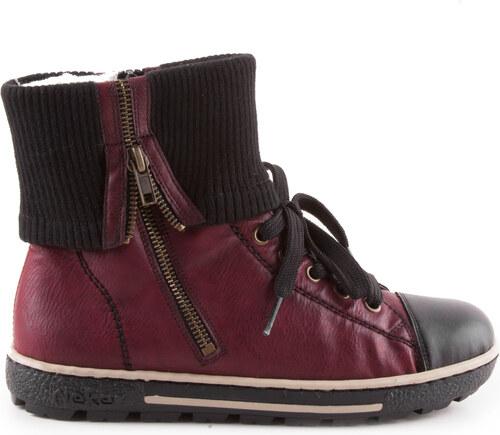 883a3df1819 Rieker - Dámské zimní kotníkové boty s přehybem a zipem šíře G Z8760-08