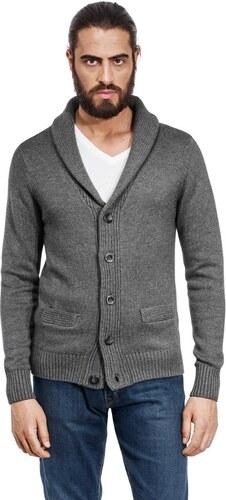 Pánský svetr na knoflíky s vysokým límcem Vincenzo Boretti - šedý ... f9e8869eaa