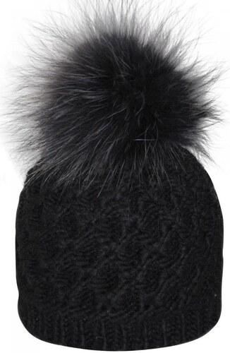 Kristo Bonnet , Bonnet noir pompon fourrure véritable Modèle femme