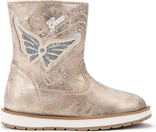 Geox Dívčí zimní boty s motýlkem - béžovo-zlaté - Glami.cz 59183de1ba