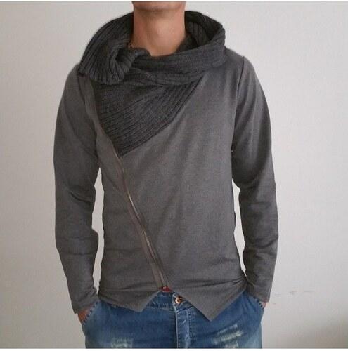 Pánský svetr na zip s límcem šedý 2cde81e136