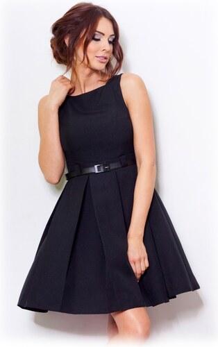 numoco Dámské společenské šaty FOLD se sklady a páskem středně dlouhé černé 4cf338456d