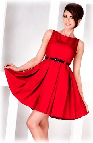 numoco Dámské společenské šaty FOLD se sklady a páskem středně dlouhé  červené 834097774b