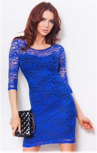 1ec5d1ff321 S-a-F SHIM.cz Luxusní dámské krajkové společenské šaty s rukávem modré -  modrá