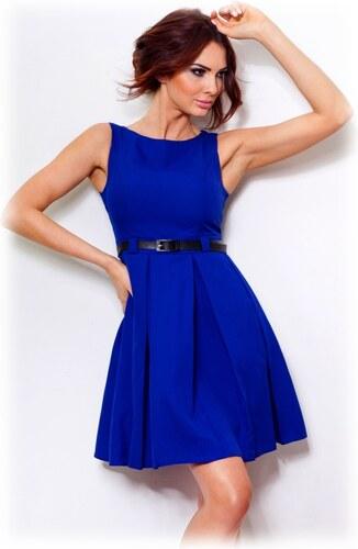 numoco Dámské společenské šaty FOLD se sklady a páskem středně dlouhé modré 436e48232b