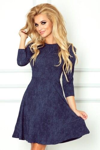 numoco Dámské společenské šaty s rozšířenou sukní a 3 4 rukávem džínově  modré 612c2e4f45