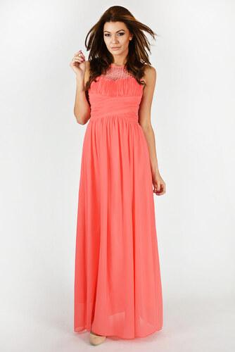 ff7278d276c Dámské plesové a společenské šaty EVA LOLA zdobené korálky dlouhé meloun