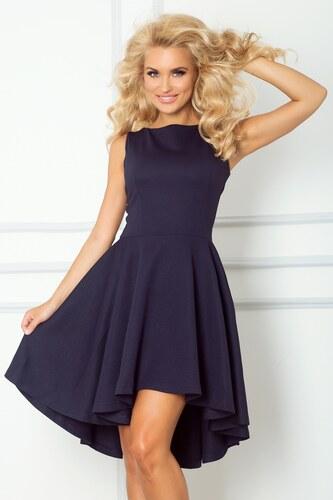 51d8a011d5f numoco Luxusní dámské společenské a plesové šaty s asymetrickou sukní tmavě  modré