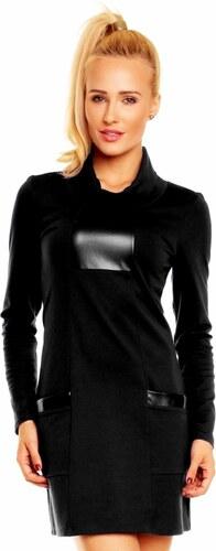 Lental Dámské luxusní společenské a casual šaty zdobené doplňky z eko-kůže  černé 8c1d1ae3b4
