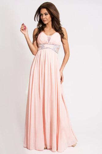 Dámské společenské a plesové šaty zdobené dekorativními kameny EVA LOLA  dlouhé růžové - L 032b09bdf35