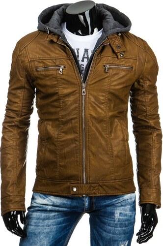 Pánská zateplená kožená bunda s kapucí hnědá - S - Glami.cz b289bf4274c