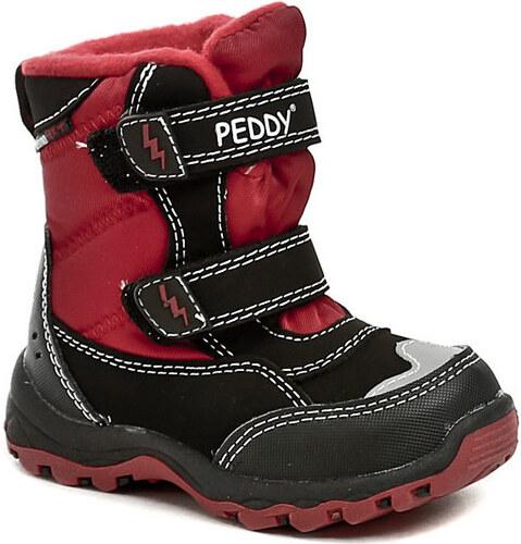 eac5f20313f Peddy Kotníkové boty Dětské PT-631-25-15 černo červené dětské zimní boty  Peddy