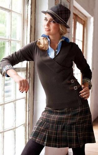 fd75fb5d3cf Značková vlněná zimní kostkovaná sukně TAMARIS 36 antracit - Glami.cz