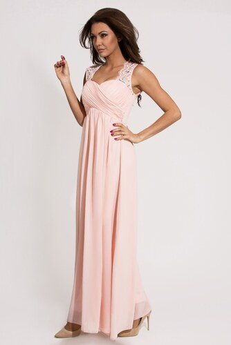 79064d81734b Dámské společenské a plesové šaty EVA LOLA dlouhé světle růžové - M ...
