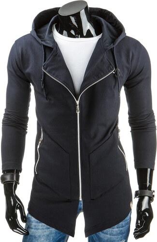 streetIN Prodloužená tmavě šedá pánská mikina na zip s kapucí Velikost  2XL f783c1705e