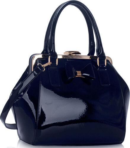LS fashion LS dámská kabelka lakovaná s mašlí LS00258A tmavě modrá ... dc9366f634