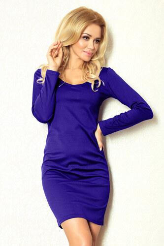 40d7b140b1b Dámské šaty NUMOCO jednoduché s dlouhým rukávem viskózové krátké modré