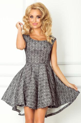 280c519e2e8 S-a-F Dámské společenské a plesové šaty exkluzivní PIANKA 571 s asymetrickou  sukní krátké bílé s černou