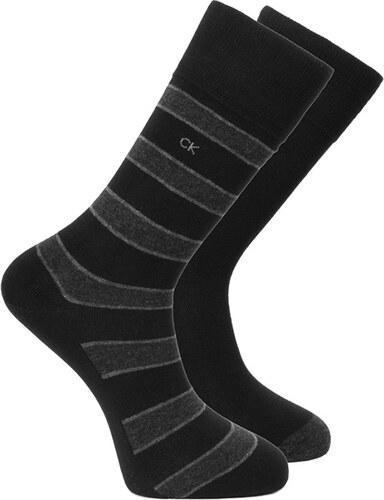 5f690dbef7a Pánské černé ponožky Calvin Klein Multi stripes Solid - Dvojbalen ...