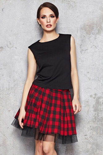 1e8fe8ad16a Infinite You Červeno-černá károvaná sukně M035 - Glami.cz