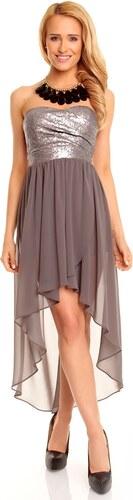 f924c8954f4b Dámské společenské šaty korzetové MAYAADI s asymetrickou sukní šedé ...