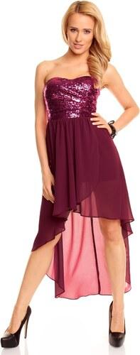 4cf7dbf7de3f Dámské společenské šaty korzetové MAYAADI s asymetrickou sukní fialové