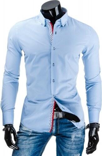 663f50bb4c76 Pánská košile Slim fit Sandor světle modrá - tyrkysová - Glami.cz