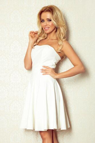 numoco Dámské luxusní společenské korzetové šaty z eko-kůže krátké bílé 24cf931a1e