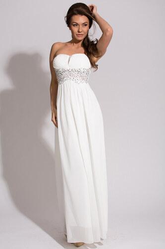 EVA LOLA dámské dlouhé plesové společenské šaty bílé ecru - Glami.cz 02f6d7b431