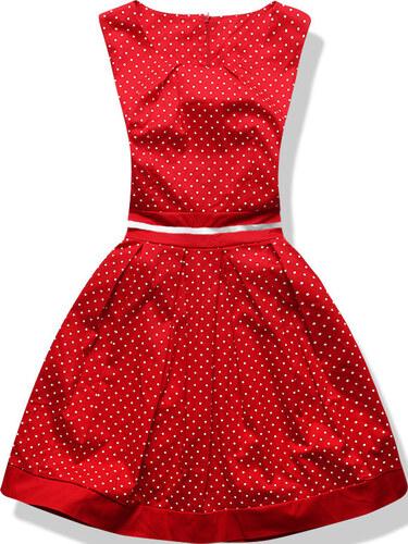 f7d5e4186dd3 NETMODA Dámské šaty Smart červené s puntíky - Glami.cz
