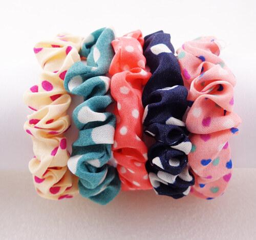 Látkové gumičky do vlasů 5ks- mix barev - Glami.cz 2537314260