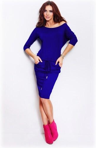 numoco Dámské sportovní šaty netopýří střih s kapsami a zavazovací tkanicí  modré 7bcfd88ac9