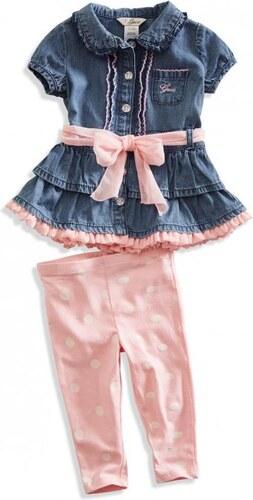 GUESS Newborn dívčí Kristyn džínové šaty (set) (0-9M) - barva tmavě ... 6f0fe16a51b