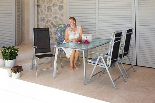 5-tlg. Gartenmöbelset »Lima«, 4 Hochlehner, Tisch 150x90 cm, Alu/Textil,schwarz,klappbar