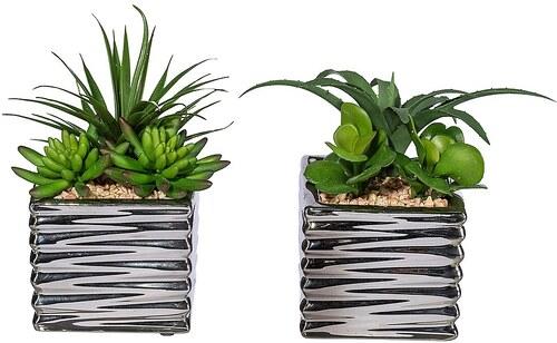 Kunstpflanze »Sukkulentenarrangement« inkl. Pflanzgefäß (2 Pfl.)