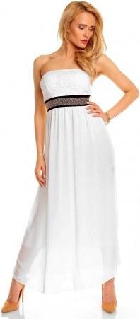 Fashion IT Dámské společenské a plesové šaty se zdobeným pasem bez ramínek  dlouhé bílé 3bd507a82aa