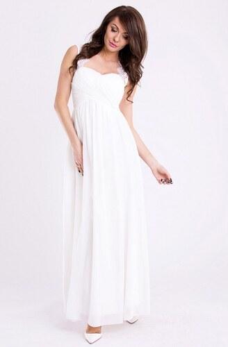Dámské společenské a plesové šaty EVA LOLA dlouhé bílé ECRU - Glami.cz 7482f16665