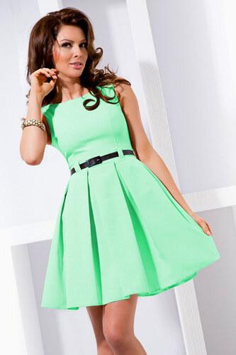 numoco Dámské společenské šaty FOLD se sklady a páskem středně dlouhé mint 18cea41e94