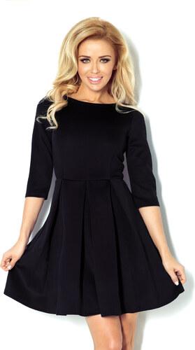 S-a-F Dámské elegantní značkové společenské šaty NUREK 772 se sklady na  sukni krátké černé a47753d07e