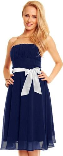 Dámské společenské značkové šaty MAYAADI 181 DB korzetové s mašlí a  šifonovou sukní tmavě modré 27318f37ca