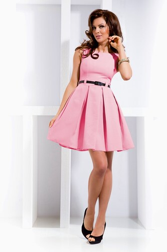 Numoco SAF Dámské šaty se skládanou sukní a páskem růžové - Glami.cz 3ff61a697c