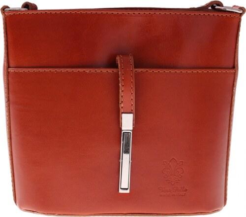 bcc8cdd464 VERA PELLE Kožená kabelka listonoška z velmi dobré kůže zrzavá ...