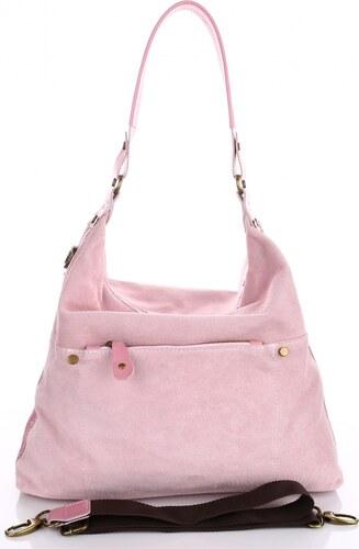 VERA PELLE Univerzální kožená italská kabelka růžová - Glami.cz ee971ee140e
