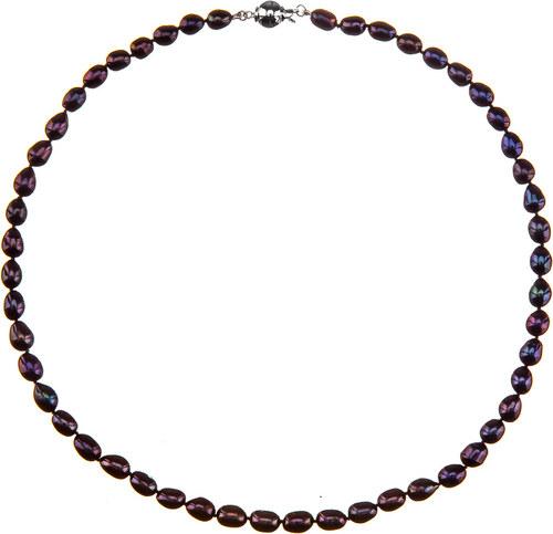 fa7855205 Buka Jewelry BUKA Perlový náhrdelník z oválných perel 6,5 černý 731 ...