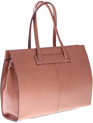 Kožená kabelka aktovka A4 Genuine Leather béžová - Glami.cz 4399307a3c6